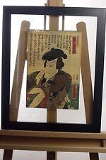 Original Japanese Edo Woodblock Print - Kunisada Actor Samurai Double Sided