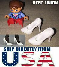 "1/6 Scale High Heel Pumps Shoes WHITE For 12"" PHICEN Female Figure U.S.A. SELLER"