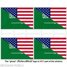 USA United States America-SAUDI ARABIA American-S.Arabian Flag 50mm Stickers x4
