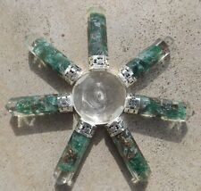 Quartz pyramid with 7 orgone green aventurine crystal points ~ energy generator