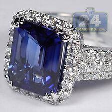 18K White Gold 7.43 ct Blue Sapphire Diamond Gemstone Womens Halo Ring