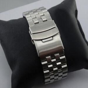 Uhrenarmband Edelstahl voll massive 20mm 22mm 24mm Neu