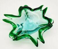 Handblown Green and Blue Art Glass Sculpture Bowl Candy Dish
