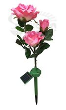SolarWholeSale 1039, Solar Powered Fabric Pink Rose Bush of 3 Flowers lighting