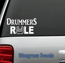 D1057 DRUMMERS RULE Decal Sticker for Car Truck SUV Van drum bass pedal throne