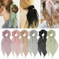 Double Layer Bow Chiffon Long Ribbon Scrunchie Hair Scarf Rubber Band Hair Tie