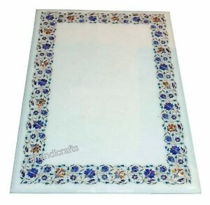 36 x 60 Inch White Marble Table Top Stone Dining Table with Inlay Art at Border