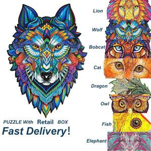 Wooden Jigsaw Puzzle Fox Unique Animals Shape Pieces 3D Puzzle Toy for Adult Kid
