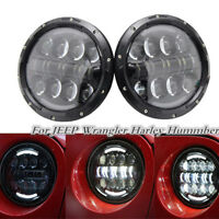 2x 7''Round Cree Dual color LED Headlight High Low Beam For JEEP Wrangler Harley