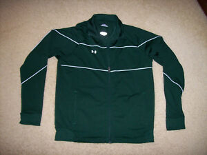 PRE-OWNED UNDER ARMOUR MEN'S GREEN FULL-ZIP ATHLETIC/RUNNING JACKET SIZE SMALL