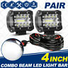 4inch LED Work Light Bar 4WD Offroad SPOT Pods Fog ATV SUV Driving Lamp+ Wire
