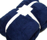 Pottery Barn Kids Navy Blue Harlee Cozy Twin Blanket New