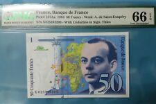 1994 FRANCE 50 FRANCS PMG66 EPQ GEM UNC <P-157Aa>