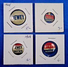 Thomas Dewey Bricker Warren Presidential Campaign Pin Pinback Button Lot of 4