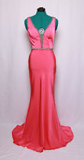 CUSTOM WATERMELON CORAL JEWELED BLING TRAIN PROM FORMAL GOWN DRESS 6