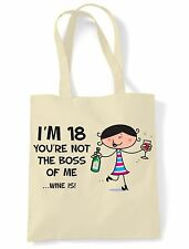 You're Not The Boss Of Me Wine Is 18th Birthday Present Shoulder ToteBag - Gift