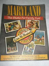 Maryland tourism guide book COLOR ME MARYLAND 1991 facts & information unused