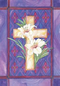 """Decorative Garden Flag of Lily and Cross 12.5 by 18"""""""
