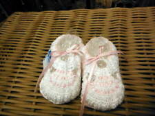 Will'beth NWT Infant Newborn Baby Girl Knit Baby Booties 0-3m White/Pink Dolls