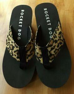 New Ladies ROCKET DOG 10 M Leopard Animal Print Black Wedge Flip Flop Shoes
