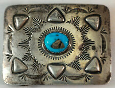 Vintage Hand Made Navajo Sterling Silver & Turquoise Metallic Piece Belt Buckle