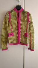 "GIANNI VERSACE Hot Pink &Green ""Cut-out"" Leather Jacket Vintage"