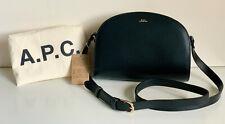NEW! A.P.C. HALF MOON BLACK LEATHER CROSSBODY SLING CAMERA BAG PURSE $520 SALE