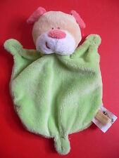Doudou KIMBALOO KMB ours chien plat vert jaune nez rose