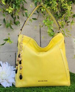 MICHAEL KORS EVIE PEBBLE LEATHER large HOBO BAG purse shoulder sunshine yellow