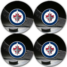 Winnipeg Jets Hockey Rubber Round Coaster set (4 pack) / RNDRBRCSTR2089