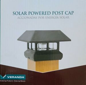 Solar Powered LED Plastic Deck Post Cap 4  X 4 Inch, Rechargeable Battery, Black