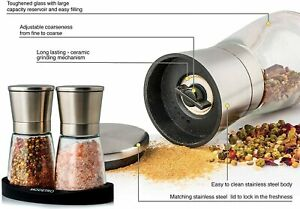 Salt And Pepper Grinder Mill Set Shakers With Silicon Stand 2Pcs Stainless Steel