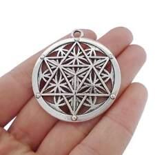 5 x Tibetan Silver Large Flower of Life Merkaba Meditation Round Charms Pendants