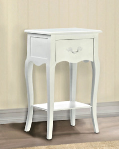 Shabby Chic White Country Loft Romantic Pine Wood Accent Side Table Nightstand