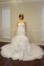 Mermaid Sweetheart Neck Sleeveless Long Rose Train Organza White Wedding Dress