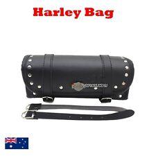 Front rear Fork leather Tool Luggage bag Harley Chopper Softail dyna cruiser BLK