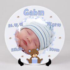 Assiette personnalisée Naissance bébé garçon avec votre photo,prénom,date....