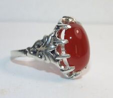 925 Sterling Silver Artisan Raised Ornate Suspended Carnelian Ring Us Size 6.75