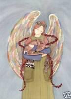 Rabbit /Deer/Raccoon Wildlife with angel / Lynch signed folk art print