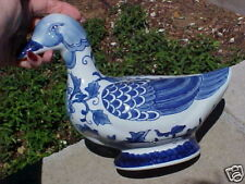 Only 1! Big Cobalt Blue White Delft Style Flowers Duck Figurine Big & Beautiful