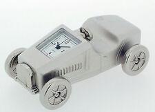 Novelty Miniature Race Car Clock.Chrome Plated
