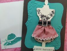 Handmade BIRTHDAY Card EMBOSSED BLING DRESS  Using Stampin Up!