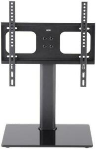 """TTAP TT44F Universal Black Glass Tabletop Pedestal Fixed TV Base Stand Up to 55"""""""