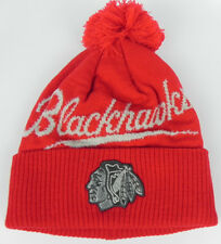 CHICAGO BLACKHAWKS NHL MITCHELL & NESS VINTAGE KNIT CAP HAT WITH POM NWT!