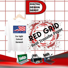 "HEAT TRANSFER PAPER RED GRID IRON ON LIGHT T SHIRT INKJET PAPER 50 PK 8.5""X11"