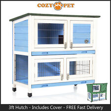 Rabbit Hutch 3ft with Cover by Cozy Pet Blue Guinea Pig Run Ferret Runs RH06