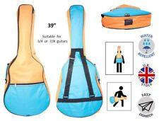 "Luz Azul Naranja 5 mm Guitarra Acústica Niño Almohadilla Bolsa suave adapta a 36"" a 39"" 3/4 7/8"