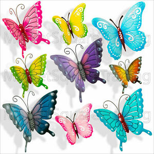 BUTTERFLIES GARDEN DECORATION MULTI COLOURED LARGE XLRGE METAL OUTDOOR BUTTERFLY