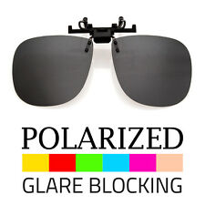 LARGE POLARIZED LENS  GLARE BLOCK CLIP ON FLIP UP SUNGLASSES GLASSES DRIVING