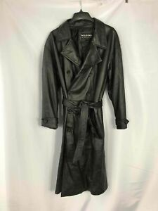 Wilsons Black Leather Trench Coat - Size Medium Men's